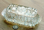 Anchor Hocking Glass Butter Dish 1/4 Pound Early American Pres Cut Htf Prescut