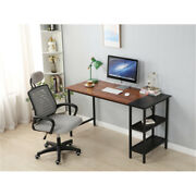 55inch Large Size Computer Desk Study Writing Desk With 2 Layer Bookshelf