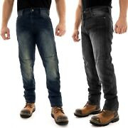Mens Denim Motorcycle Jeans Motorbike Pants Biker Trouser With Protective Lining
