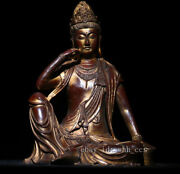 Tibetan Buddhism Pure Copper Outline In Gold Comfortable Guanyin Buddha Statue