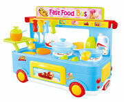 Blue Fast Food Bus Kitchen Play Set Toy 29pcs Playset Makes Realistic Cooking