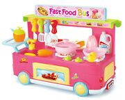 Pink Fast Food Bus Kitchen Play Set Toy 29pcs Playset Makes Realistic Cooking