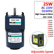 Ac 220v 25w Metal Gearbox Gearmotor Adjustable Speed High Torque 10rpm To 500rpm