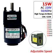Ac 220v 15w Metal Gearbox Gearmotor Adjustable Speed High Torque 10rpm To 500rpm