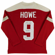 Red Wings Gordie Howe 2x Insc Signed Red Vintage Adidas Sweater Jersey Psa 2