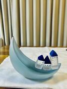 Yumi Tanaka And039 Mellow Glass And039 Glass Art Moon And Houses Free Shipping From Japan