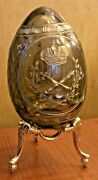 Faberge Smoked Brown Glass Egg W Etched Gold Gilt Crystal And Stand