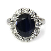 4.3 Ctw Natural Blue Sapphire And Diamond 14k White Gold Diana Engagement Ring