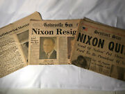 Lot Of 3 Newspapers,1974 Nixon Quits Resigns Resignation Watergate Newspaper