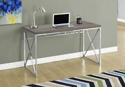 29.75 Dark Taupe Particle Board And Chrome Metal Computer Desk