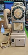 Vintage Automatic Electric Company 3 Slot Rotary Pay Phone Tan
