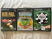 Pinball Hall Of Fame Real Pool World Series Of Poker Sony Playstation 2 Ps2 Lot