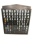 Vintage Sewing Thimble Collection Lot Of 93 With Wooden Wall Mount Display Case