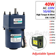 Ac 220v 40w Metal Gearbox Gearmotor High Torque Adjustable Speed 10rpm To 500rpm