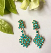 Persian Turquoise 18k Gold Vintage Clip Back Earrings Amazing 2andrdquo Drop