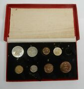 1950 Great Britain British Royal Mint 9 Coin Proof Set In Original Case