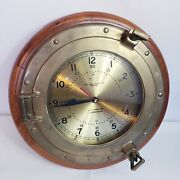 Chelsea Clock Co. U.s. Maritime Commission Clock Solid Brass Wood Needs Part.