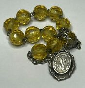 † Htf Antique Hallmarked Sterling Relic Holder And Yellow Rosary Bracelet 7 1/4 †
