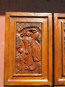 6 Antique Chinese Carved Wood Panels