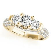 Round 1.36 Ct Real Three Stone Diamond Ring For Bride 14k Yellow Gold Size 6 7 8