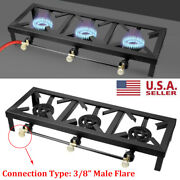Portable Camping Stove Three Burner Cast Iron Propane Gas Lpg Outdoor Bbq Cooker