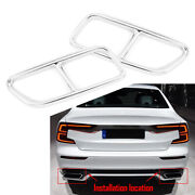 Stainless Steel Exhaust Muffler Tail Pipe Cover Trim For Volvo S60 V60 14-19