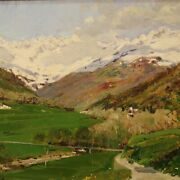 Small Signed Landscape Painting Oil On Board Panel Antique Style Impressionist