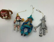 Lot Of 4 Vintage Wizard Of Oz Christmas Tree Hanging Wooden Ornaments