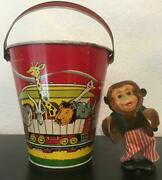 Vintage Superior Tc Lithograph Sand Pail Cymbal Monkey Included.