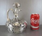 Awesome American Alvin Sterling Overlay Decanter Grapes And Vines 1900. Perfect