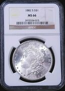 1882-s Morgan Silver Dollar Ngc Ms66 White Superb Frosty Luster Pq D16