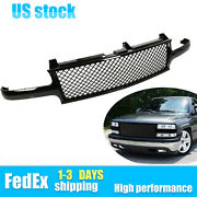 For 99-06 Chevy Suburban 1500 Tahoe Mesh Front Hood Grill Grille Gloss Black