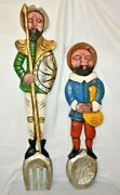 Don Quixote And Sancho Carved And Painted Wooden Spoon Fork Wall Kitchen Decor