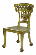 19th Century Biedermeier Carved And Painted Cane Chair