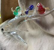Vintage Murano Art Glass Figurine Of Birds On Clear Glass Tree Branch Italy