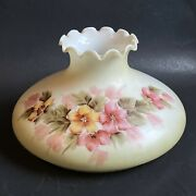 """Hand Painted Gwtw Pale Yellow Pink Roses Glass Lamp Shade Globe 10"""" Fitter"""