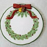 Holly Bells Raised 3d Ribbon Porcelain Holiday Cookie Plate Noble Excellence