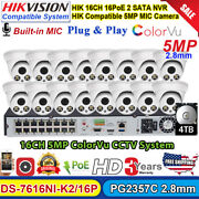 Colorvu Security Cctv System 16ch Nvr Hikvision Compatible 5mp Mic Ip Camera Lot