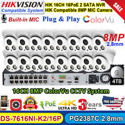 4k Colorvu Hikvision Compatible 16ch Security Camera System 8mp Mic Ipcamera Lot