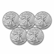 2021 1 Oz American Silver Eagle Bu Type 2 - Lot Of 5 Coins