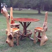 Rustic Dining Pub Table And Chair Set Cabin Furniture Log Home Pub Table Look