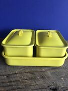 5 Pc Yellow Enamelware Graniteware Baking Dishes Square Canisters