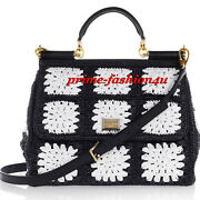 Dolce And Gabbana Black White Floral Raffia Crochet And Leather Sicily Large Bag