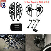 Black Front Rear Floorboards Shift Levers Brake Arm Fit For Harley Touring Dyna