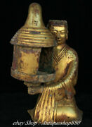 Old China Bronze Ware 24 K Gold Dynasty People Person Candle Holder Candlestick
