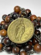 † Xl Antique Hand Made Habit Belt Huge Brass Medal And Wood Rosary 50 No Cross †
