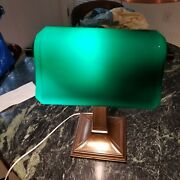 Vintage Green Shade Brass Bankers Lamp
