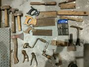 Vintage Rusty Woodworking Tools Lot Hammers Axe Drill Levels Ex Stanley 21pce