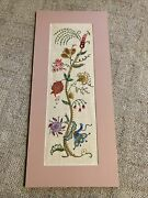 Finished Vintage 32.5x14.5andrdquo Jacobean Floral Crewel Embroidery Picture Unknown