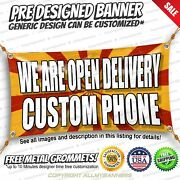 We Are Open Delivery Custom Phone Advertising Vinyl Banner Sign No Cheap Flag